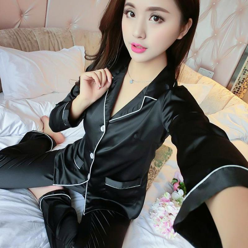 Autumn 2PCS Shirt&Pant Black Casual Home Clothes Intimate Lingerie Women Satin Nightwear Set Sexy Pajamas Suit Sleepwear M-XL