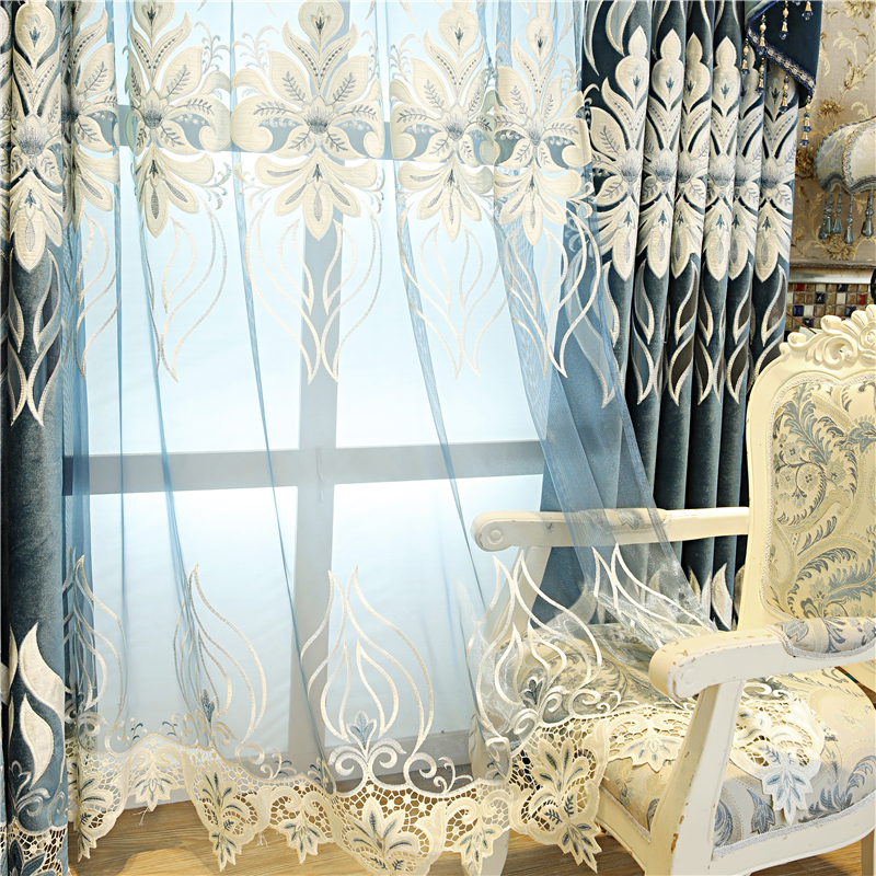 Dark blue European top luxury flannel blackout Curtains for Living Room decoration with high quality Voile Curtain for Bedroom in Curtains from Home Garden