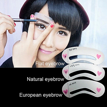 100PCS 3Pcs/set Eyebrow Stencils 3types Reusable Eyebrow Drawing Guide Card Brow Template DIY Make Up Tools