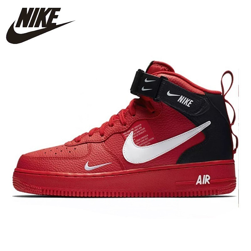 NIKE AIR FORCE 1 New Arrival Men Skateboarding Shoes Air Cushion Anti-Slippery Red Origianl Sneakers #804609-605
