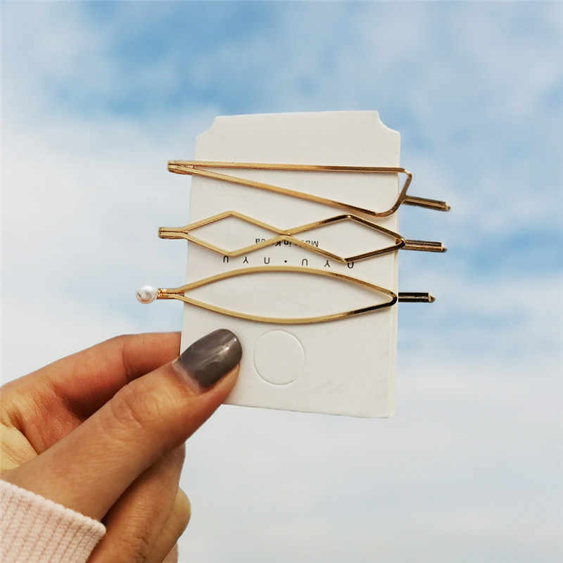 17KM New Korea Hair Clips 2019 For Women Girl Simulated-pearl Shell Hairpins Set Gold Color Female Hairwear Fashion Jewelry
