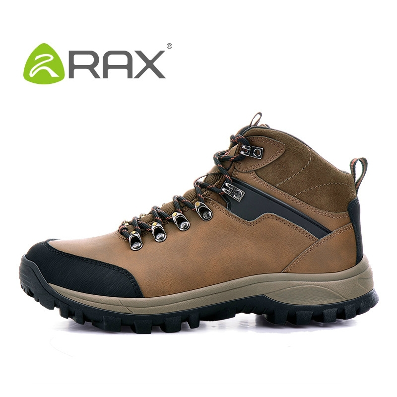 цена на RAX hiking shoes men hiking boots double waterproof slip resistant genuine leather shoes slip breathable men boots B936