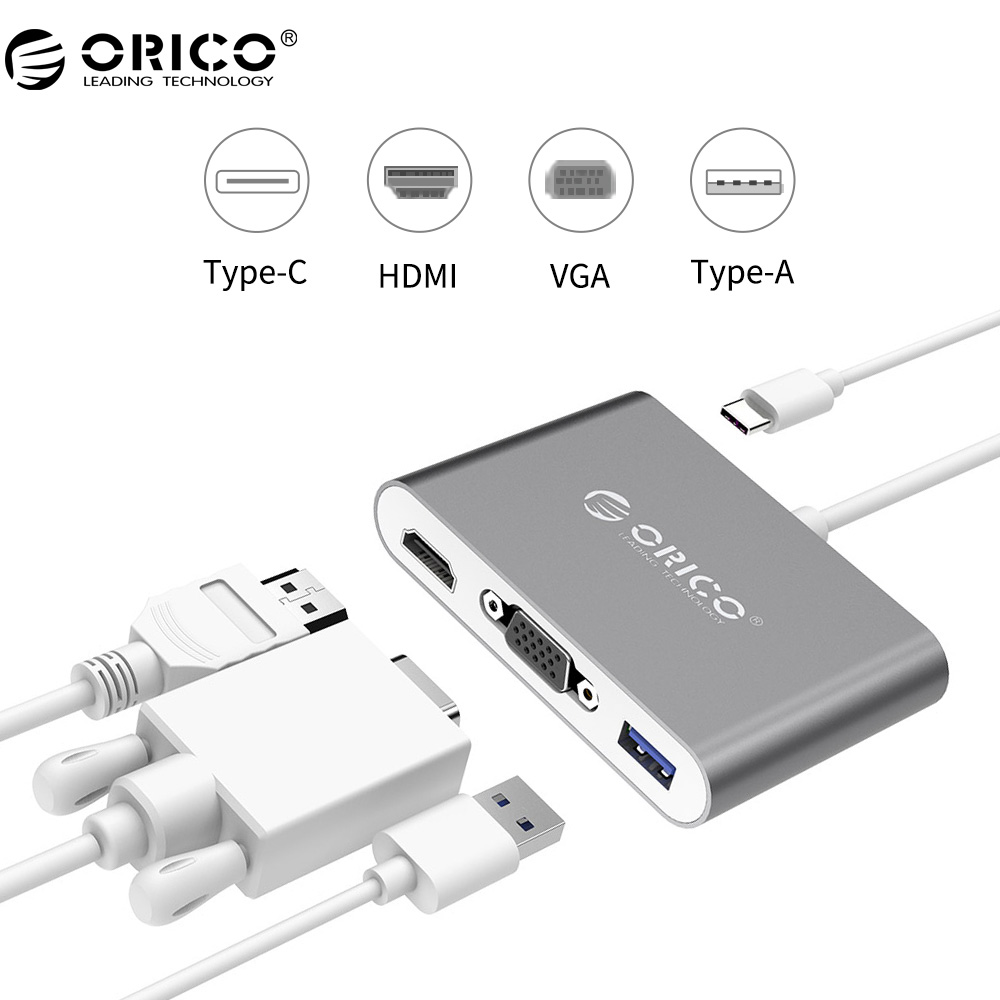 ORICO Aluminum Type-C to VGA/HDMI Converter USB3.1 Gen1, 5Gbps with 1 USB 3.0 Port for Mac Laptop PC