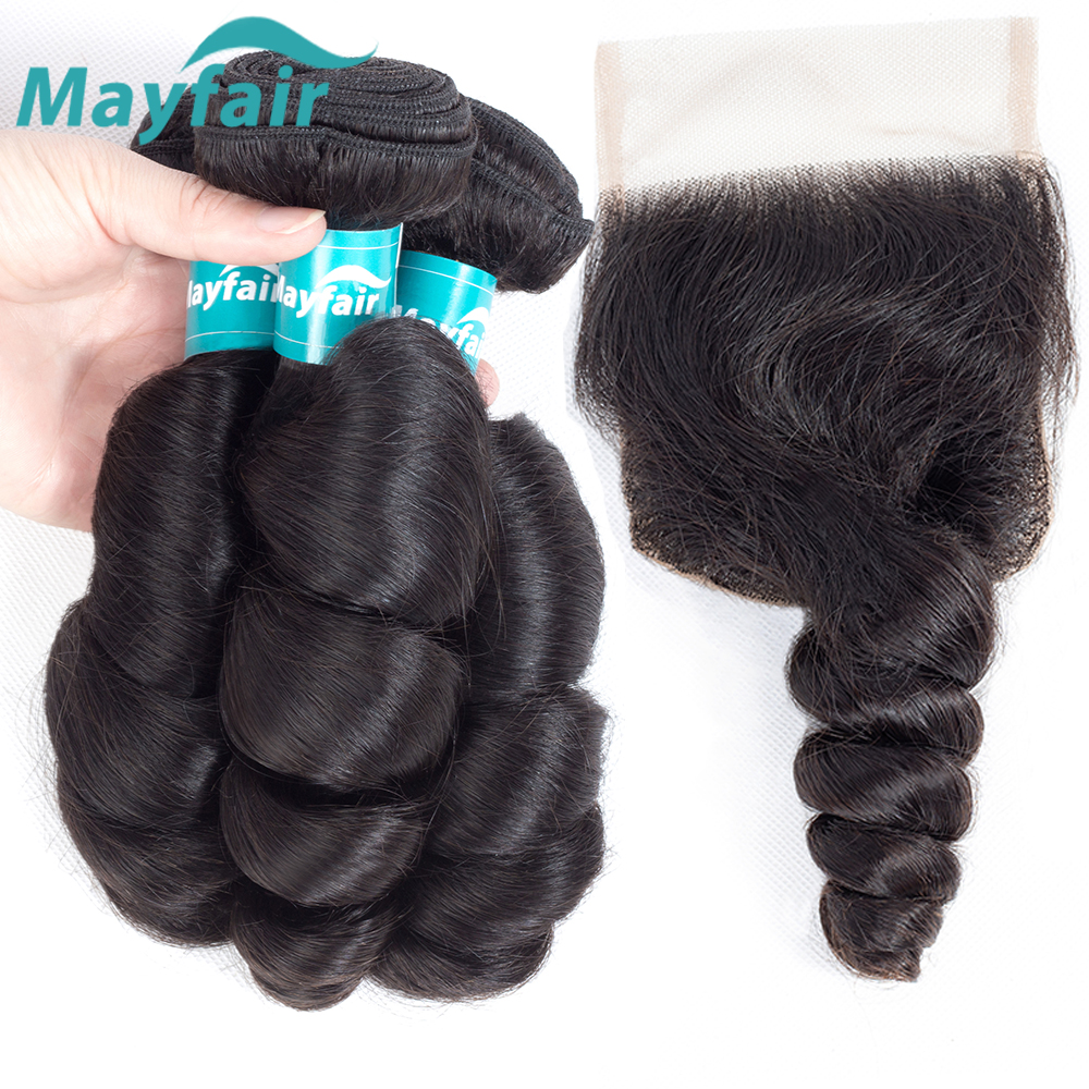 Mayfair Hair Brazilian Loose Wave With Closure 100% Remy Hair Bundles With Closure Human Hair 3/4 Bundles With Lace Closure