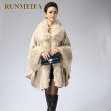 Осень Зима женский длинный вязаный кардиган свитер модный искусственный Лисий мех Кашемир шаль накидка пальто пончо для женщин
