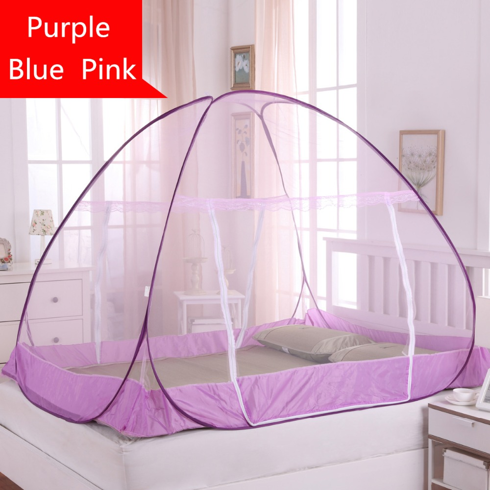 Folding Mongolian Yurt Mosquito Net Blue Purple Double Bed Netting Insect Nets Mosquitera Canopy Cibinlik Mesh Camping Tent In From Home