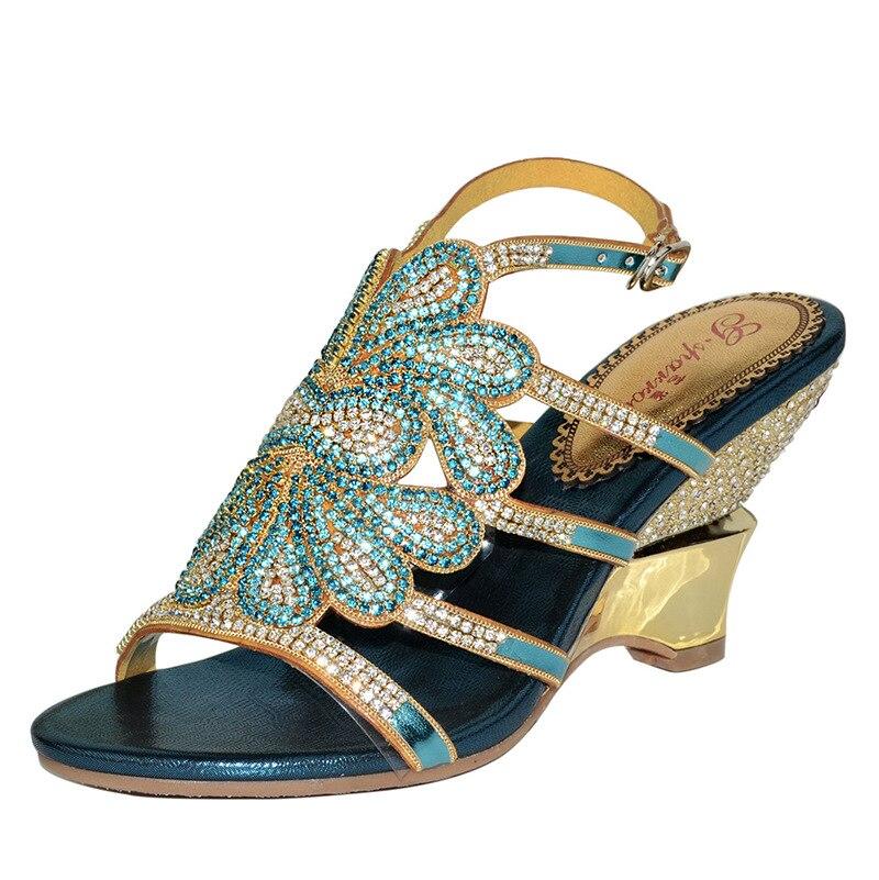 ФОТО Blue Crystal Sandals Women 2016 Summer Diamond Bohemia Rome Wedge High-heeled Sandals Sandalias Mujer Plus Size 43 44