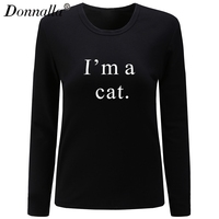 Donnalla Women T Shirt O Neck Long Sleeve Fashion Cotton Shirt I M A Letter Print