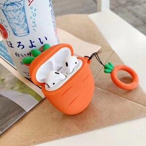 Image 5 - Nette 3D Obst Pflanze Kaktus Karotte Silikon Ring Lanyard Kopfhörer Kopfhörer Fall Für Apple Airpods 1 2 Zubehör abdeckung Tasche