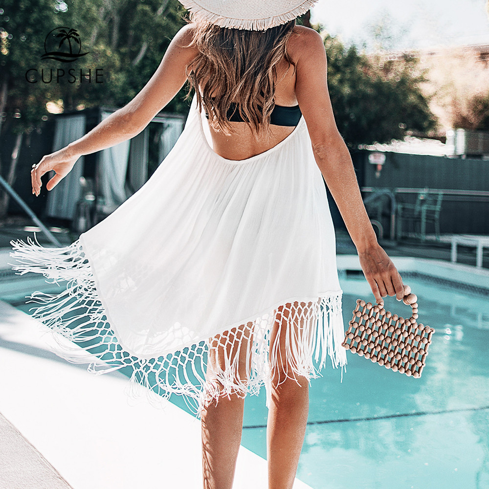 CUPSHE White Backless Cover Up With Tassels Sexy V-neck Lace Up Halter Beach Dress Women 2019 Summer Bathing Suit Beachwear