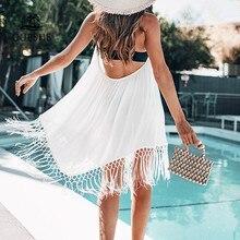 CUPSHE beyaz Backless ile kapak püsküller seksi v yaka dantel Up Halter plaj elbise kadınlar 2020 yaz mayo Beachwear