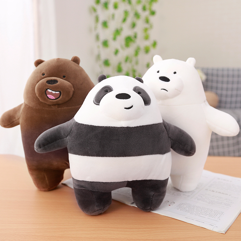30cm 1pc We Bare Bears Cartoon Bear Stuffed Grizzly Gray White Bear Panda Plush Toy Doll Kawaii Birthday Gift For Kids Children