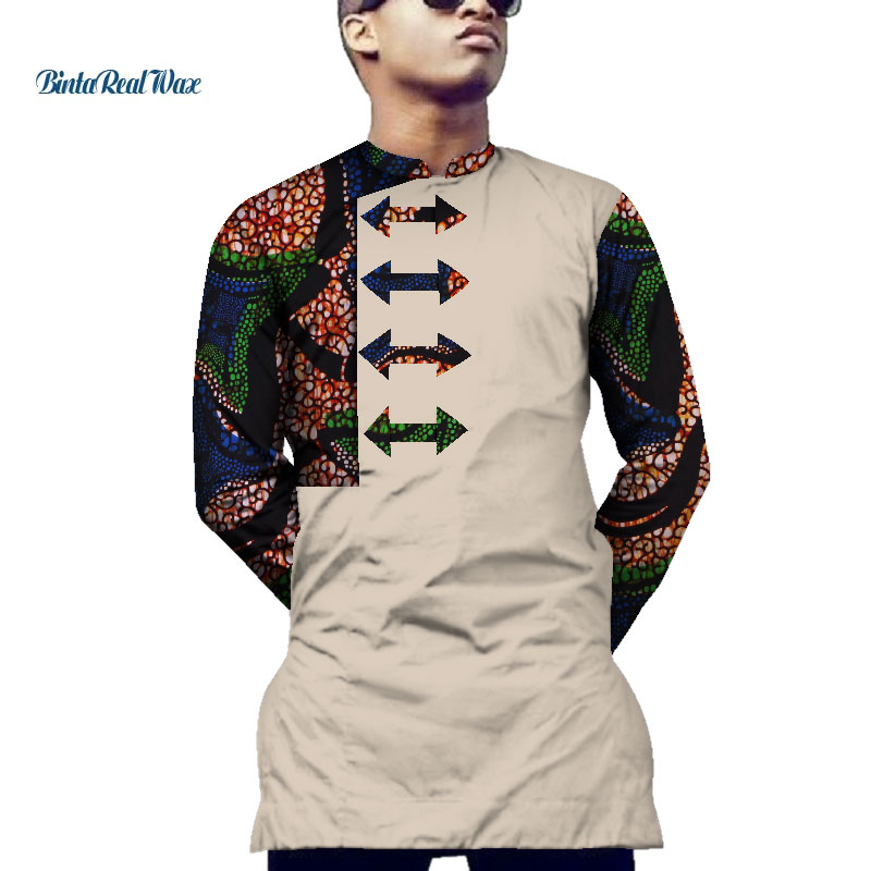 Casual Mens Shirt African Clothing Dashiki Print Arrow Pattern Shirt Tops Bazin Riche Traditional African Clothing WYN551