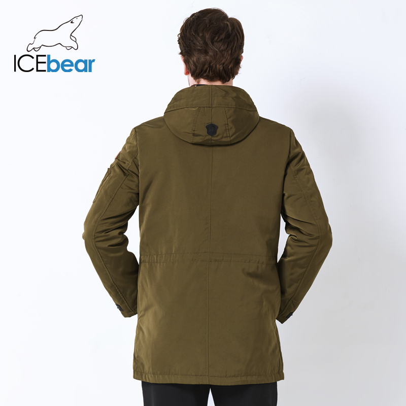 Image 4 - ICEbear 2019 Trench Coat For Men Hat Detachable Autumn Men New Casual Medium Long Brand Coats 17MC017D-in Trench from Men's Clothing