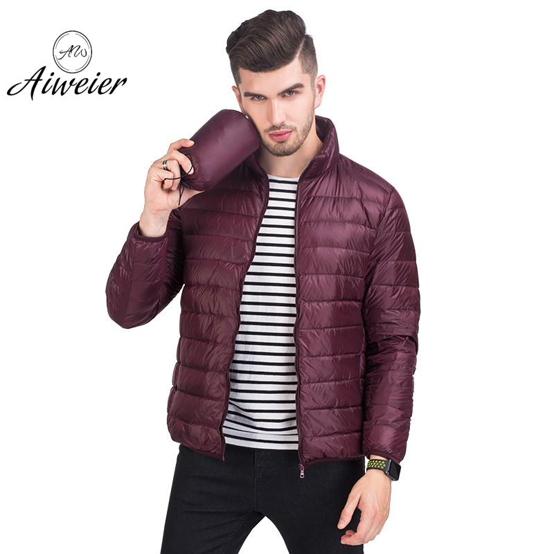[Aiweier] Ultra Light   Down   Men's Jackets Male Winter Thin Stand Collar 90% Slim Zipper Korean Casual   Down     Coat   For Man AL11112