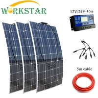 WORKSTAR 3 x 100W Flexible Solar Panels 12V Solar Charger for RV/Boat Car 300w Solar System Panel Solar 100W Solar Power System