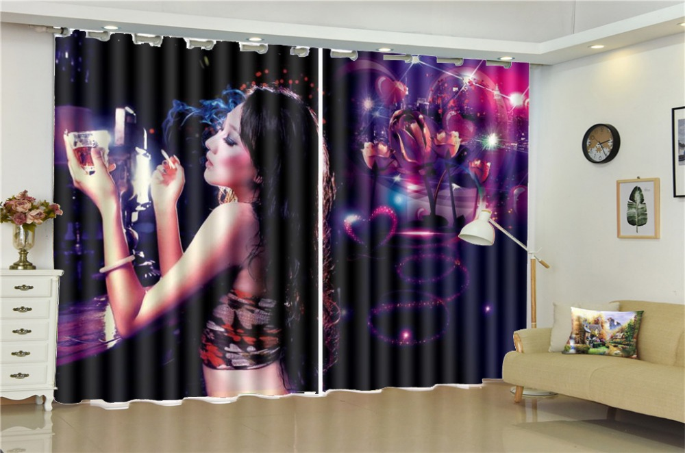 Printing Blackout 3D Window Curtain Dreamy Night Sexy Girl Custom Living Room Bedroom Beautifully Decorated CurtainsPrinting Blackout 3D Window Curtain Dreamy Night Sexy Girl Custom Living Room Bedroom Beautifully Decorated Curtains