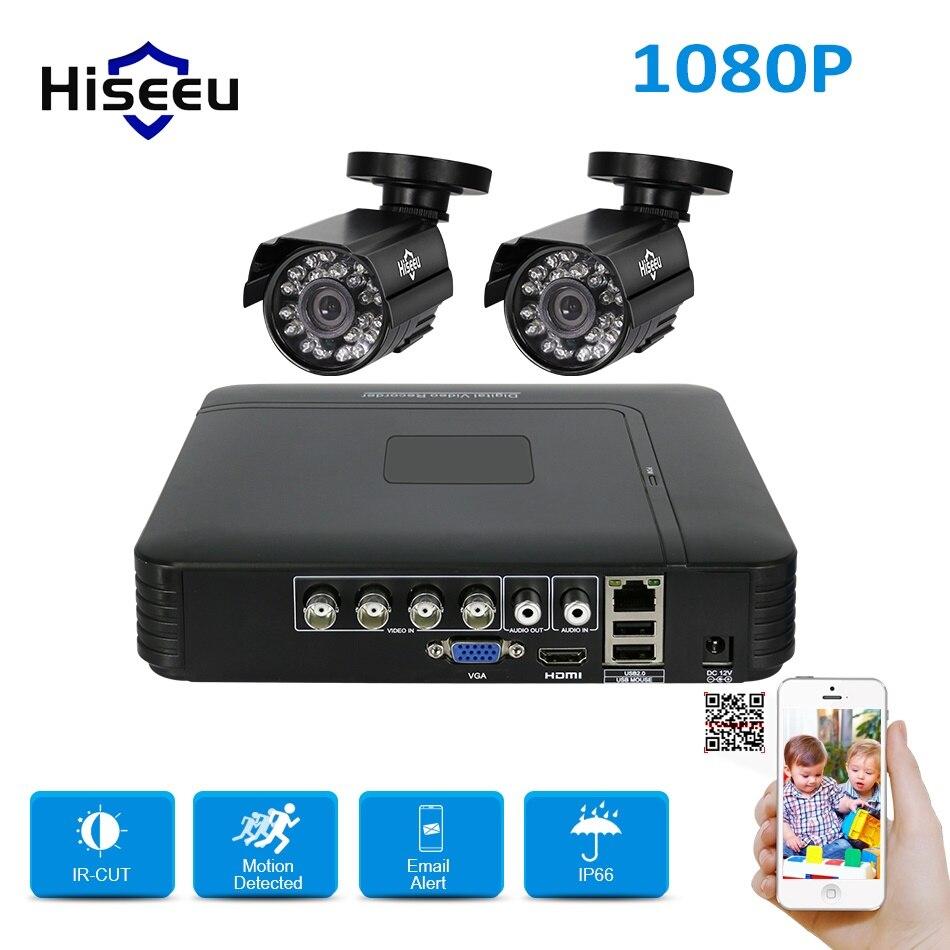 AHD CCTV System 1080P Camera 4CH Recorder 1080N 2 pcs 2MP Cam Security Surveillance Set