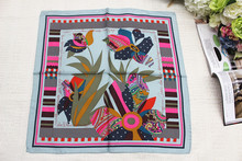 100% silk scarf, women Square scarf,Material:twill silk, size:50x50,Thickness 12mm Gray Flowers