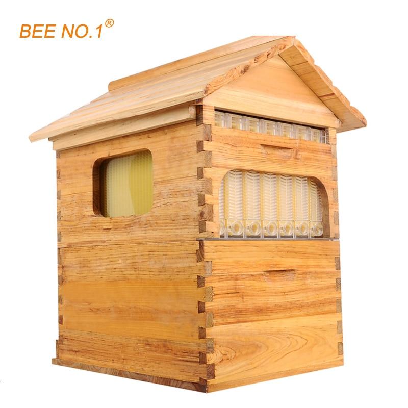Bee № 1 Пчеловодство Инструмент Деревянный улей langstroth пчелиный улей Мёд потока куст 7 шт. кадров улей 65*55*23 см Пчеловодство инструмент