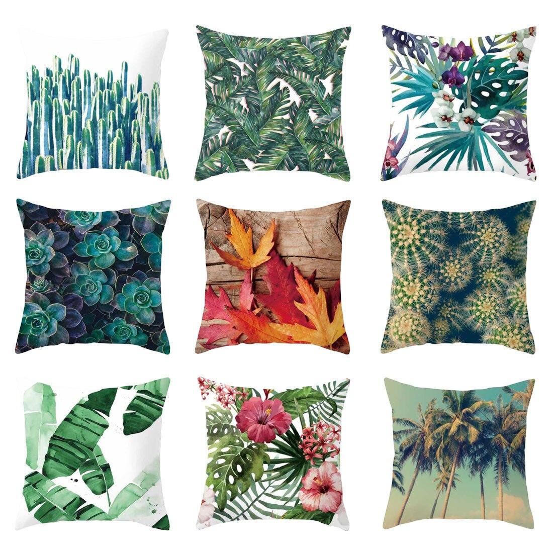 Decorative Pillows Flower-Cushion Tropic-Tree Cotton Polyester 45--45cm