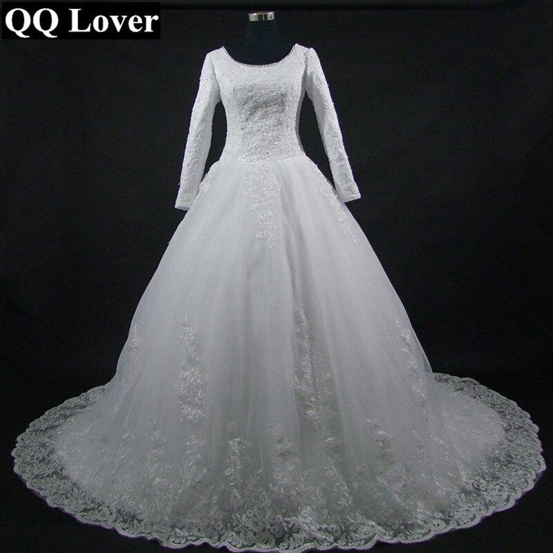 2017 New Elegant Long Sleeve Lace Vintage Empire font b Wedding b font Dress Custom Made