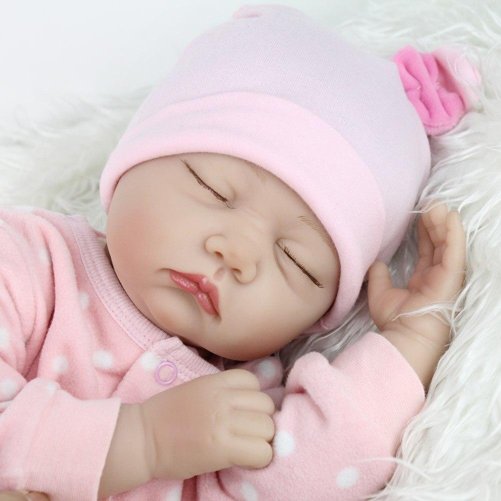NPKDOLL 22 inches Sleeping Doll Reborn Babies Silicone Lifelike Baby Toys For Girls Fashion Reborn Boencas