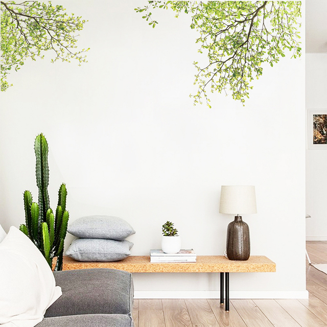 Green Tree Branch Wall Sticker Vinyl Living Room Stickers Home Decor Poster Vinilos Paredes