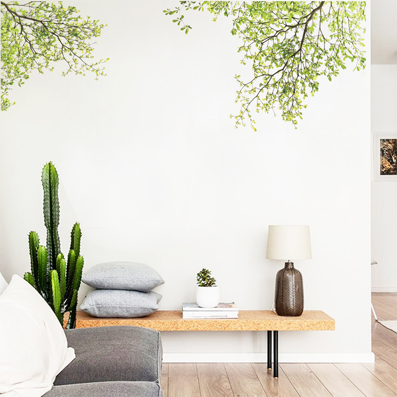 Ramo de Árvore verde Adesivos de Parede de Vinil Sala de estar Adesivos de Parede Início Wall Decor Poster decalque paredes Decoração Da Parede
