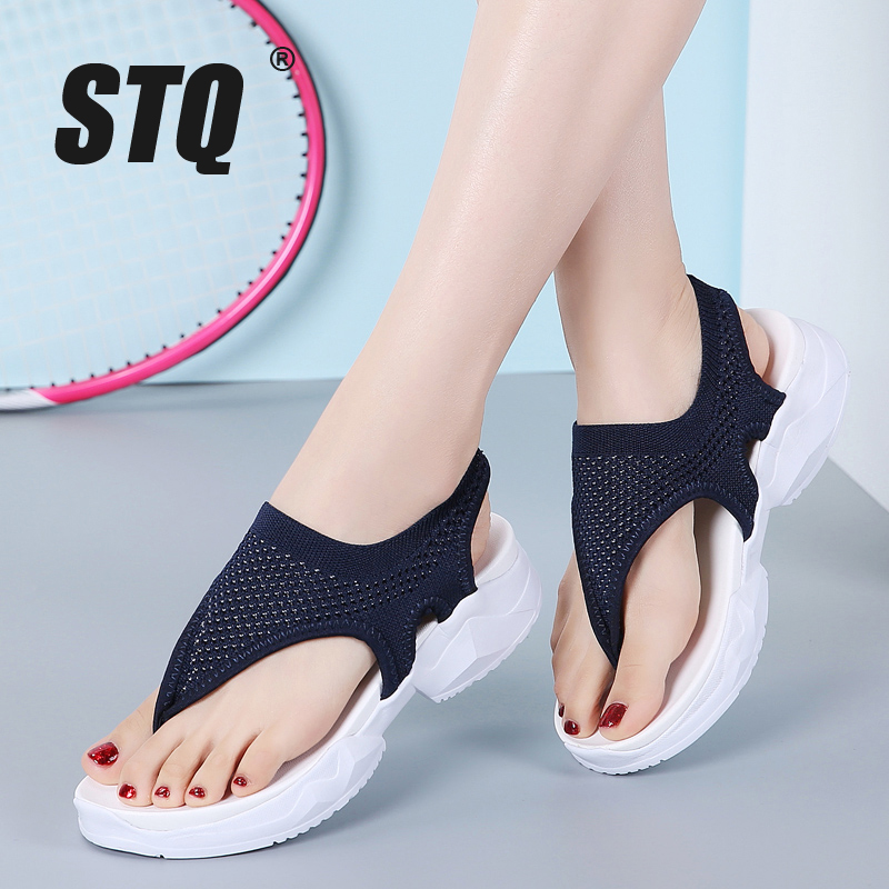 STQ Sandals Female Flip-Flops Flat Slippers Summer Wedge Women Ladies Home Comfort 7753