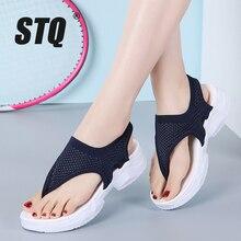 Женские сандалии на плоской подошве STQ, 2020 черный цвет, шлепанцы, танкетка, удобные, домашние, тапочки, на лето, 7753