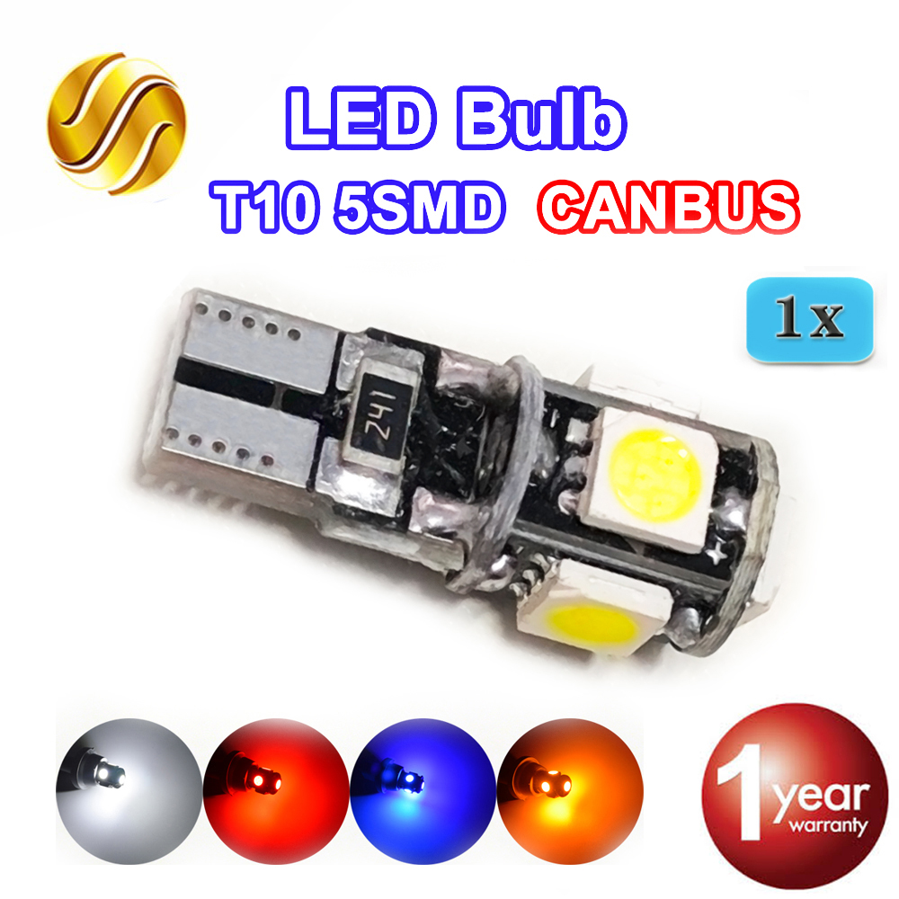 flytop CANBUS LED Bulb T10 5SMD 5050 SMD W5W 194 Error Free Car Light CAN BUS Automotive Lamp White Red Blue Yellow Color лампа для чтения newsun t10 9 smd 5050 canbus w5w