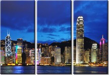 3 pieces framed Wall Art Picture Gift Home Decoration Canvas Print painting Blue city landscape wholesale/