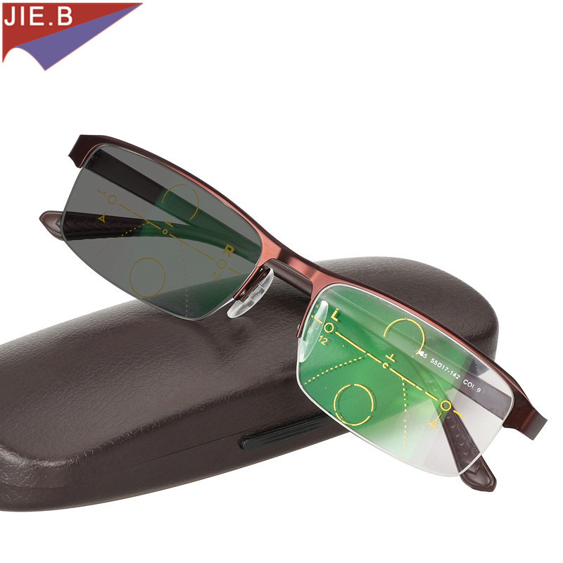 5955a2fce1b5 2019 Transition Sun Photochromic Reading Glasses Men adjustable vision With  Multifocal Diopter Progressive Reading Glasses Men