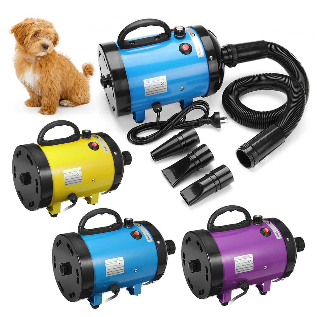 2800 W à faible bruit sèche-cheveux pour animaux de compagnie chien chat toilettage sèche-linge ventilateur chauffage température réglable ventilateur Pet soufflant Machine