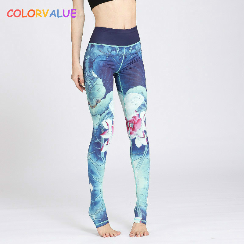 Colorvalue Tinte Gedruckt Yoga Leggings Frauen Hohe Taille Fitness Athletisch Leggings Stretchy Workout Laufhose Gym Active