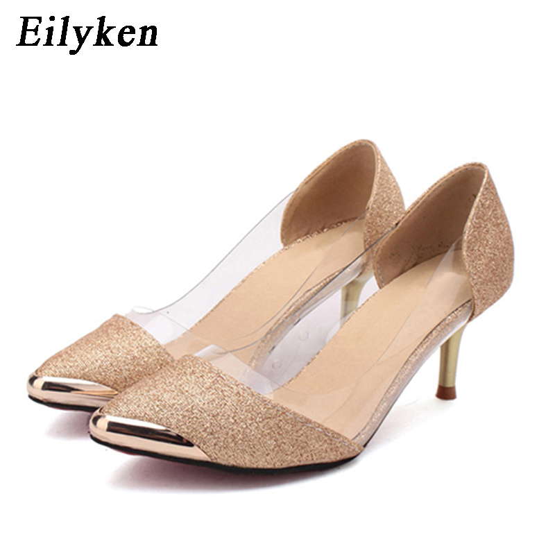 Eilyken 2019 New Autumn Women Shoes High Heels Metal Head Pointed Sexy Women Pumps party Wedding shoes For Women size 34-40