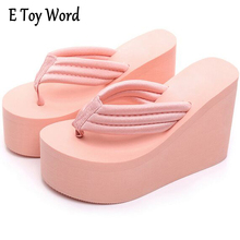 Increased 12cm Fashion Slope with Thick Crust Muffin waterproof Sandals and Slippers Slip Female High with