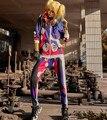 2016 Асимметричный Футболка и Брюки Набор 2 Из Двух Частей Набор спортивный костюм Печати Пот Подходит Женщинам Толстовки Устанавливает Хип-Хоп Панк стиль