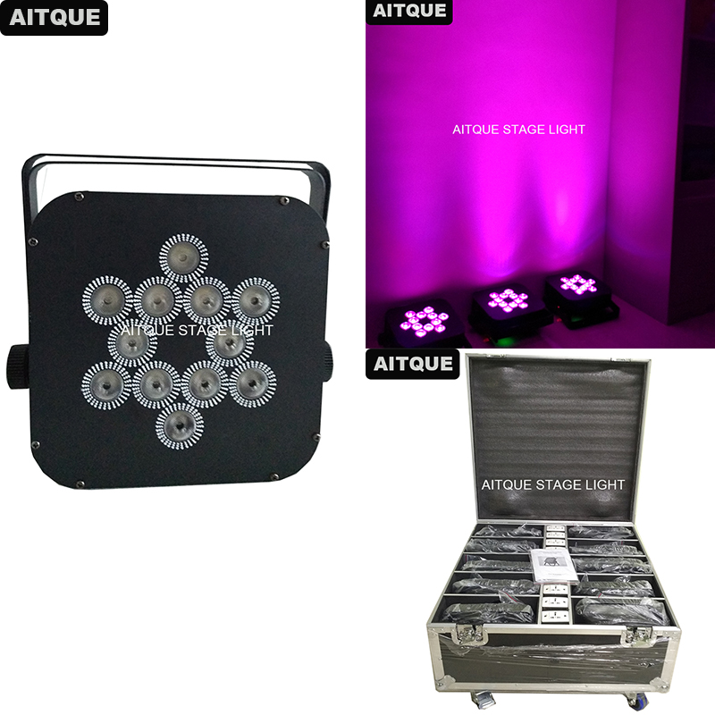 (Flight Case)Stage Effect Led Batery Light 12x18w Rgbwa Uv Pink 7in1 Battery Powered Par Wireless Led Uplighting Road Case