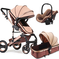High Landscape Baby Stroller 3 In 1 with Car Safety Seat Sleeping Basket Portable Cradle Newborn Baby Carriage Luxury Pram 3 In1