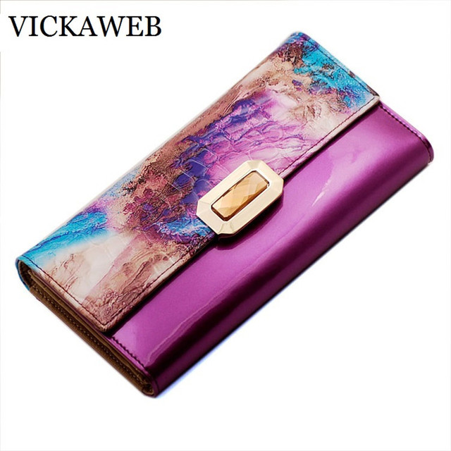 VICKAWEB women wallets genuine leather coin purse famous brand long womens purses luxury brand real leather wallet