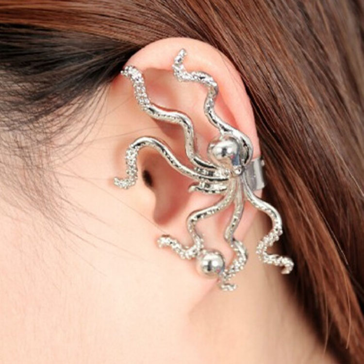 1 Pc Gold Silver Color Octopus Shaped Ear Cuff Hook Non Pierced