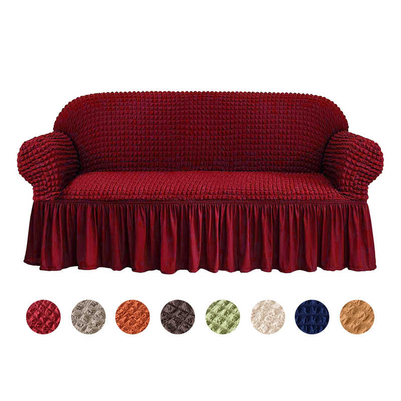 Luxury Jacquard Sofa Cover with Skirt European Sectional Couch Sofa Covers for Living Room Armchair Sofa Covers Elastic Stretch