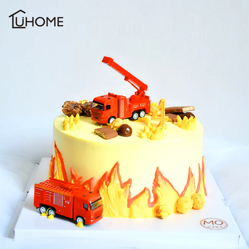 Cake Topper Fire Truck Decor for Wedding Party Supplies DIY Home Decor Kids Birthday Baby Shower Party Gift Cake Decorating Tool milwaukee electric tool corporation