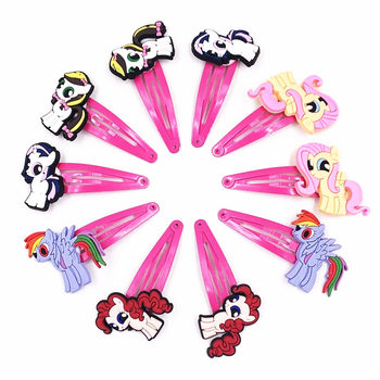 10PCS My little Horse Poni Children Character MV Hairstyle Hairpins Hair clips Headwear Barrette for Girls BB Hair Accessories