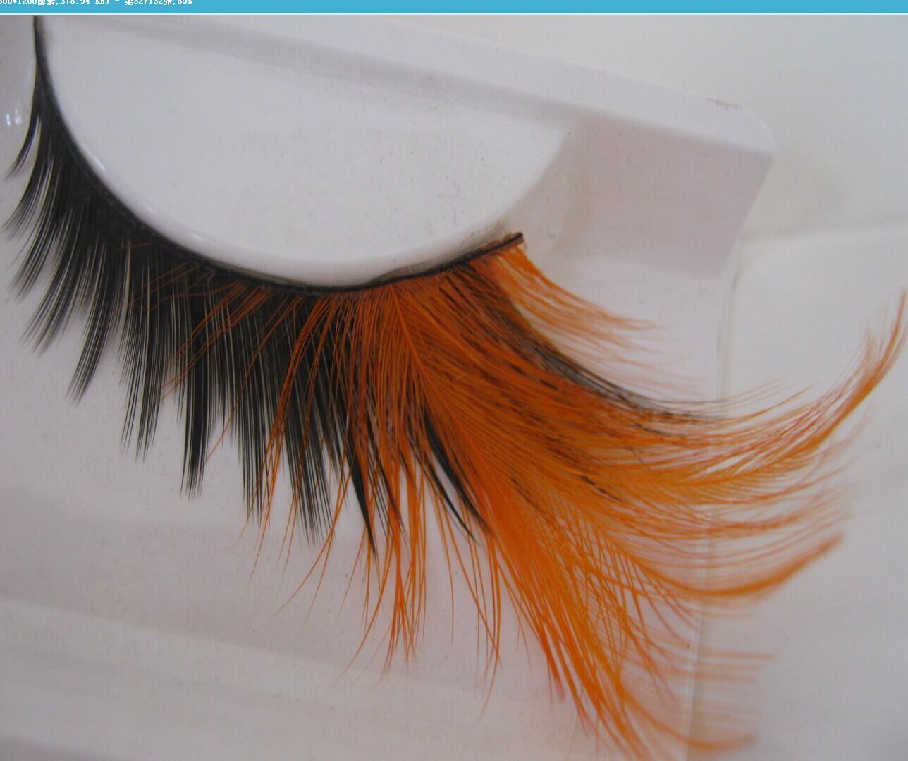 1 pairs End of eye elongated exaggerated false eyelashes thick orange vibrant and gorgeous eye-catching orange warm YM57