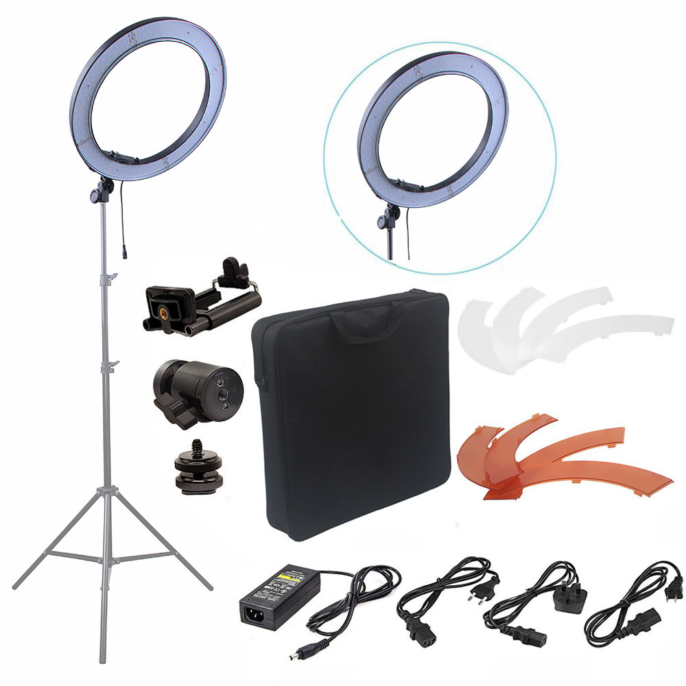 Fusitu 18 '' 240 stks LED 5500 K Dimbare Fotografie Video LED Foto Ringlicht Kit voor DSLR Camera