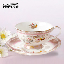 YeFine Bone Porcelain Teacups High Quality Ceramic Coffee Cups And Saucers With Spoon British Afternoon Tea Accessories