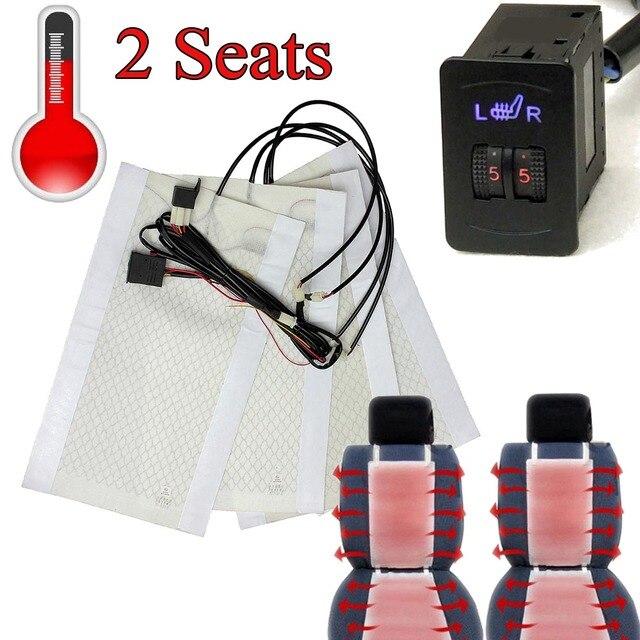 2 сиденья 4 колодки Универсальный углеродного волокна подогреваемый подогрев сидений 12 В колодки 2 набора 5 уровня Переключатель зима утепленное сиденье Чехлы 2/5 уровень
